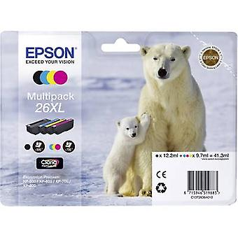 Epson Ink T2636, 26XL Original Set Black, Cyan, Magenta, Yellow C13T26364010