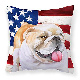 English Bulldog Patriotic Fabric Decorative Pillow
