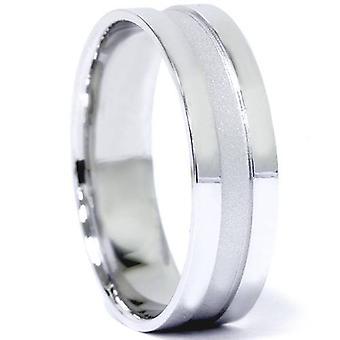 Mens gebürstet 6mm flache Hochzeit Band 10K Weißgold