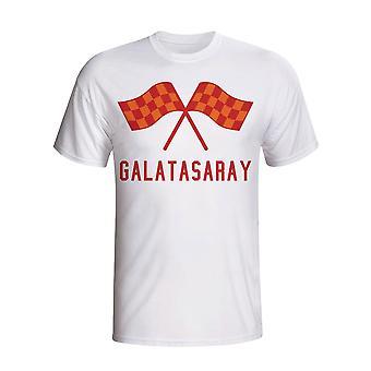 Galatasaray Drapeaux de ondulation de T-shirt (blanc)