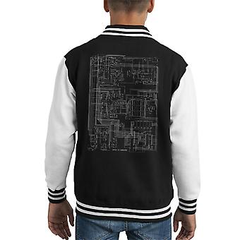 Apple II Computer Schematic Kid's Varsity Jacket