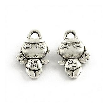 Packet 30 x Antique Silver Tibetan 15mm Baby Charm/Pendant ZX16190
