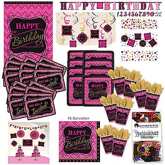 Happy birthday pink party set XL 108-teilig for 8 guests decoration Kit Party Pack