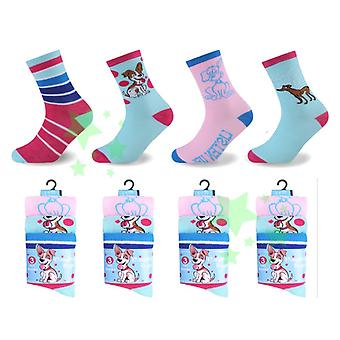 Ladies Fashion Naughty Dog Socks 4-7 Size 12 Pairs