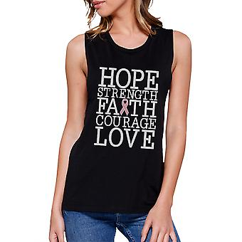 Hope Strength Faith Love Womens Pink Ribbon Graphic Muscle Tanks