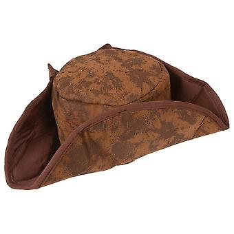 Wicked Caribbean Pirate Hat Brown Soft Fancy Dress Accessory Party Novelty