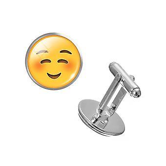 キュートな笑顔のペア絵文字カフス黄色のボタン背景ハッピーパーティ