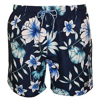 Hugo Boss Beau blomprint simma Shorts, blå/Navy