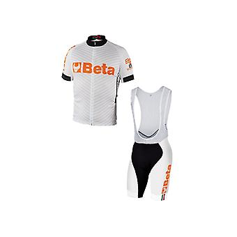 9543 W/XXX/L Beta XXX/L Biking Jersey And Bib Shorts White Breathable Fabric