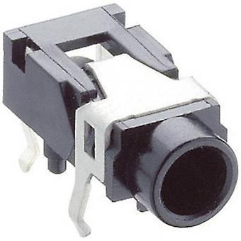 3.5 mm audio jack Socket, horizontal mount Number of pins: 3 Stereo Black Lumberg 1503 07 1 pc(s)