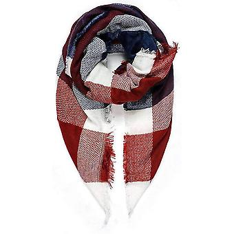 Intrigue Blanket Square Scarf - Navy/Red/White