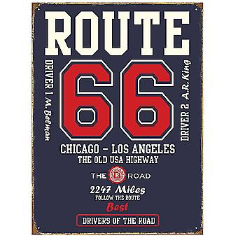 Route 66 College Style Steel Sign