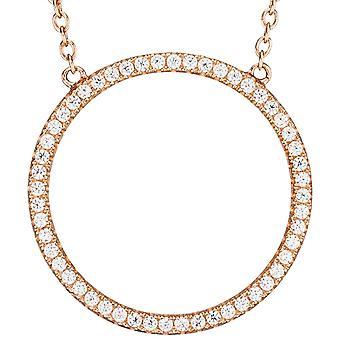 Halskjede rose gull forgylt med kubikk zirconia halskjede 925 sølv 45 cm kjede