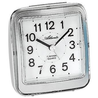 Atlanta 1772/19 allarme orologio al quarzo analogico d'argento tranquillamente senza ticchettio con luce Snooze