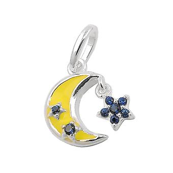 Trailer 11x11mm moon with star cubic zirconia 925 Silver