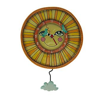 Allen Designs Sunny Skies Yellow Sun Face Pendulum Wall Clock