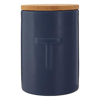 Premier Housewares Fenwick Tea Canister, Dark Blue
