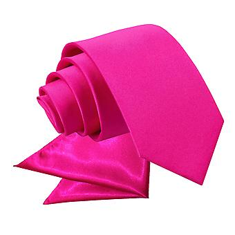 Hot Pink Plain Satin Tie & Pocket Square Set for Boys