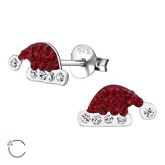 Hat - 925 Sterling Silver Crystal Ear Studs - W24703X