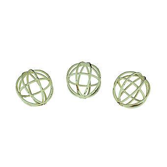 Set van 3 noodlijdende witte Open werk decoratieve ballen 4 Inch Diameter
