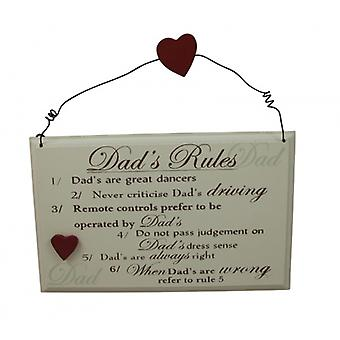Dads Rules Fun Plaque Gift For Dad