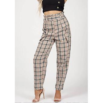 Vérifiez Paperbag High Waisted adaptés pantalon Beige