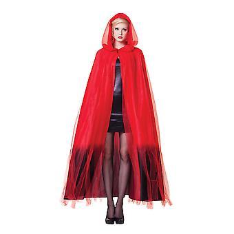 Damen Kapuzen Cape Rot mit schwarzen Ombre Finish