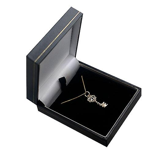 9ct Gold 25x10mmm solid 21 Key Pendant with a curb Chain 16 inches Only Suitable for Children
