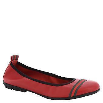 Leonardo skor kvinnors handgjorda ballerinor i röd kalvskinn