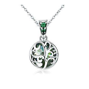 Verde Swarovski Crystal embelezada colar de pingente de árvore da vida de mulher e prata 925