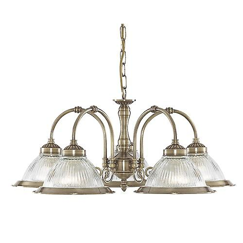 Searchlight 9345-5 American Diner Traditional 5 Arm Pendant With Clear Ribbed Glass