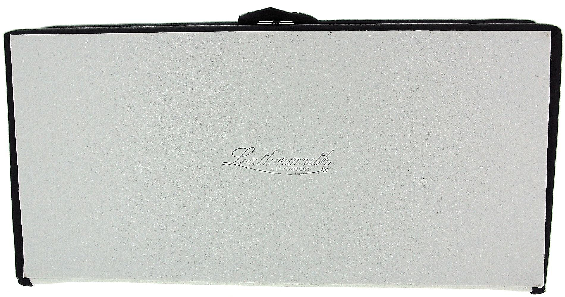 Mele Unisex White With Black Trim 8 Compartment Bonded Leather Jewellery Case