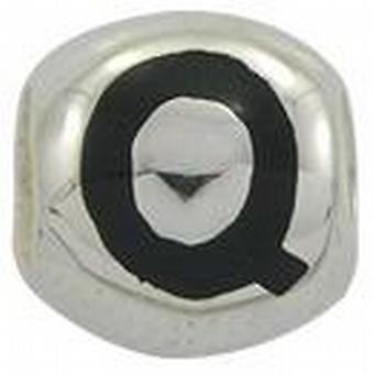 TOC BEADZ 925 Silver Initial Q 9mm Slide-on Bead