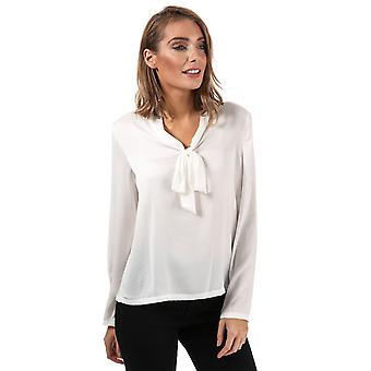 Womens Only Mona Pussy Bow Blouse In Cloud Dancer