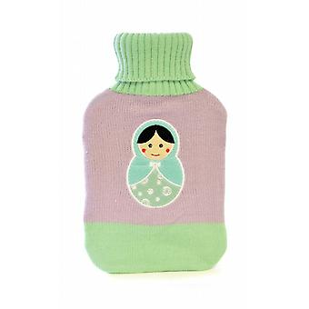 Russian Doll Embroidered Knitted Cover Hot Water Bottle