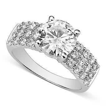 Forever Brilliant White Gold 8.5mm Moissanite Ring ,size 6,2.92cttw DEW