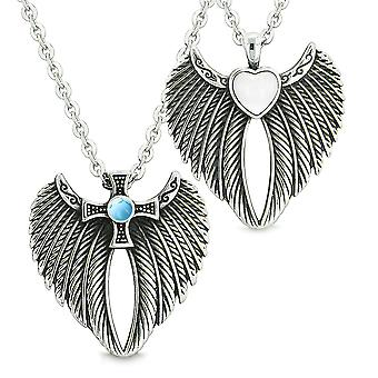 Angel Wings Heart Cross Love Couple Best Friends White Simulated Cats Eye Simulated Turquoise Necklaces