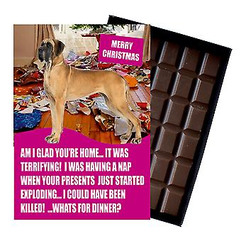 Great Dane Funny Christmas Gift For Dog Lover Boxed Chocolate Greeting Card Xmas Present