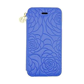 iPhone 6/6s - 4.7 Inch Nappa Embossed Camellia Folio Hard Shell Blue