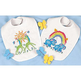 Baby Hugs Noah's Ark Bibs Stamped Cross Stitch Kit 9
