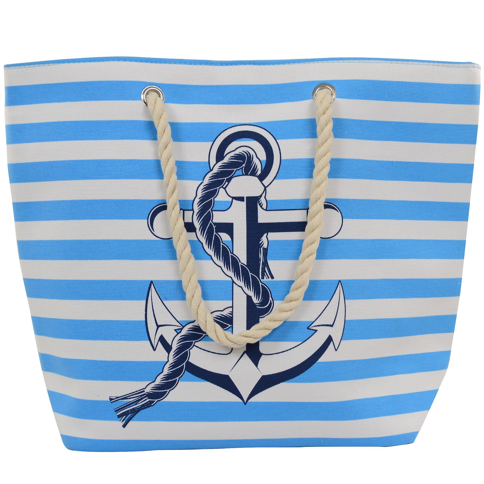 Ladies / Womens Large  Striped Canvas Beach / Holiday / Summer / Tote Bag -  Sky Blue