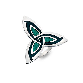 Celtic Trinity Knot Enamel Scarf Ring  -Green- Gift Boxed