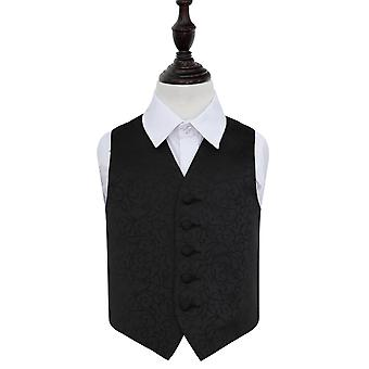 Boy's Black Swirl Patterned Wedding Waistcoat
