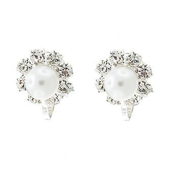 Clip On Earrings Store Diamante  and  White Pearl Round Button Clip On Earrings