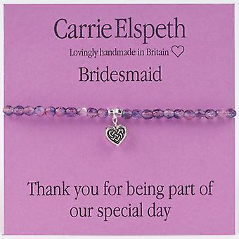 Carrie Elspeth Bridesmaid Heart Sentiment Stretch Bracelet