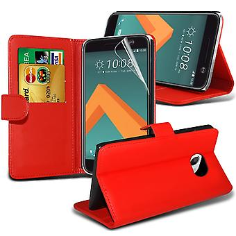 i-Tronixs HTC 10 / HTC One M10 PU Leather Wallet Classic Flip Case Cover + Screen Protector Guard -Red