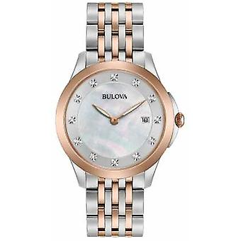 Bulova Womans Rose Plated Two Tone Diamond 98S162 Watch