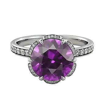 2.00 ctw Amethyst Ring with Diamonds 14K White Gold Flower Vintage Halo
