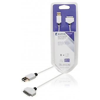 König sync and charging 30-pin docking male-USB 2.0 A male 2.00 m white