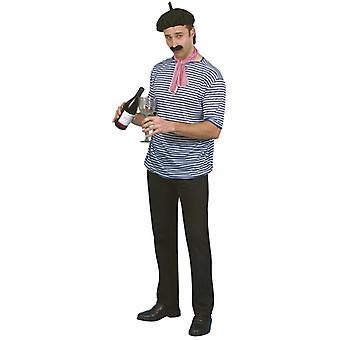 Franzosen Kostüm Set Baskenmütze Shirt Tuch Bart